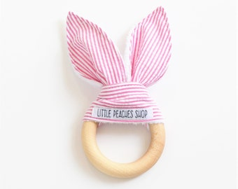 Bunny Teether Bunny Ear Teether Teething Ring Lovie Wooden Teether Baby Easter Basket Easter Bunny Teething Ring Baby Valentines Day Gift