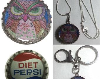 Old Diet Pepsi Soda bottle cap OWL Folk Art Drawing Keychain, Pendant, Necklace