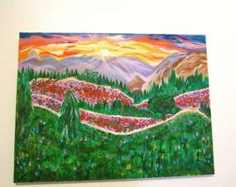 Landscape Painting on Canvas of Hills, Landscape, and Sunset for Home Decor