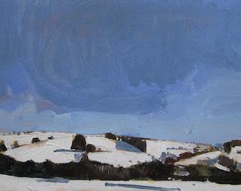 Snow HIlls, Return, Original Winter Landscape Painting on Paper, Stooshinoff