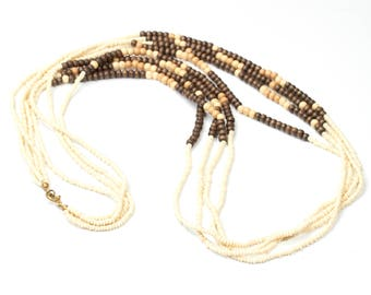 Vintage long multi stranded necklace made of beads and wooden beads, Vintageschmuck