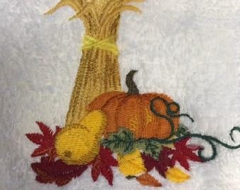 Hand Towel - Embroidered Harvest