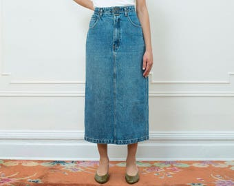 vintage blue denim skirt | jordache long denim jean skirt | high waist jean skirt | jordache blue denim maxi skirt | medium | 1980s | 80s