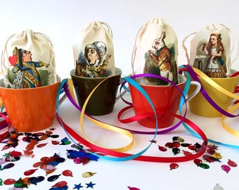 Alice in Wonderland Party Favor Bags | Red Queen Birthday | White Rabbit | Alice | Mad Hatter Tea Party | Onederland Cotton 3x5 | Set of 8