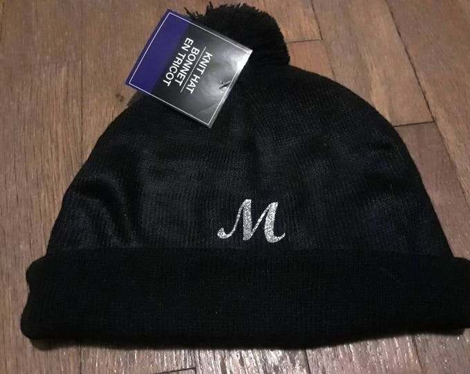 Customized knit hat with glitter letter (name available at extra cost)