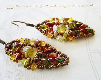 Woven earrings super-duos super-duos yellow/green/red, yellow Crystal