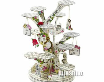 Paper cupcake stand - Alice in Wonderland, Party cake stand, party treat stand, cupcake display, DIY assemble cupcake stand, muffin display