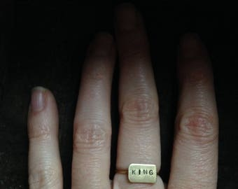 King // Brass Stamped Word Ring // Size 5 1/4