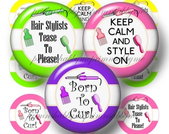 HAIRDRESSER, Bottle Cap Images, Digital Collage Sheet, I Inch Circles, Instant Download, Printable, Hairdresser Sayings, Bottle Caps, Crafts