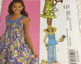 McCall's 5798 Girls Summer Outfits Size 7 - 14 Uncut