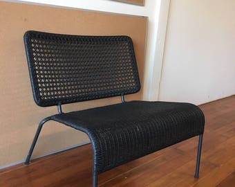 Black Woven Indoor Outdoor Accent Bench