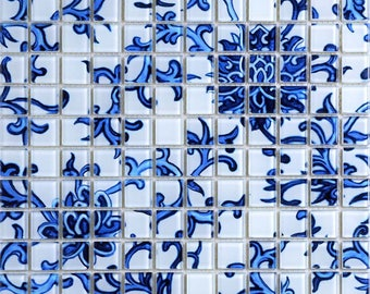 Crystal Glass Tile Blue and White Puzzle Tile Crackle Crystal Backsplash Murals Kitchen Mosaic Collages Wall Tiles