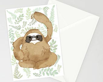 Happy Sloth A6 Greetings Card