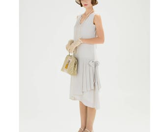 1920s flapper dress with drape & bow in bleached linen color, Great Gatsby party dress, Downton Abbey dress, flapper costume, 20s tea dress