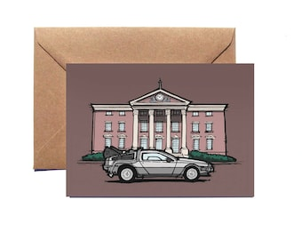 Greetings Card | Delorean | Back to the Future | Illustration