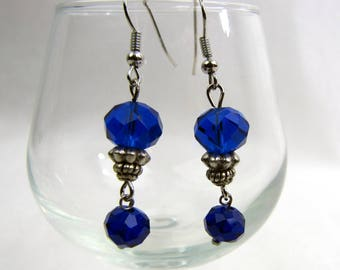 Cobalt Blue Crystal Bead Drop Earrings / Handcrafted / Original / Vibrant