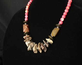 Beaded stone statement necklace