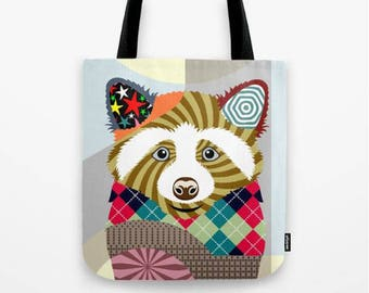 Raccoon Tote Bag, Animal Tote Decorative Raccoon Bag, Raccoon Lovers Gift Tote Bag, Animal Lovers Gift