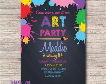 Art Party Invitation, FREE Thank You Card File, Paint Party Invitation, Craft Party Invitation, Digital or Printed