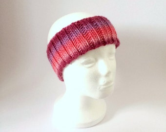 Pink Maroon Ear Warmer, Hand Knit Wool Headband Hair Accessory For Girl Or Woman.