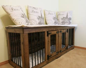 Paris (#1 on Etsy) Double Kennel/ Dog Kennel/Custom Kennel/Handmade Kennel/Dog Bed/Dog Crate Furniture/Pet Furniture/Handcrafted Wood