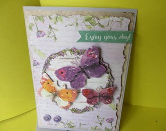 Card (embossed) 3-d butterflies purple pink and orange