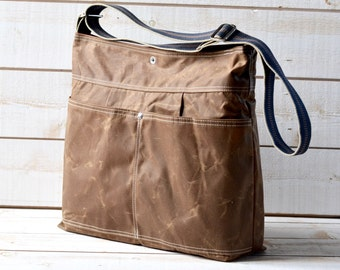 Diaper bag,Waxed canvas bag,Messenger bag,adult bag, gift for her, cross body bag,bike bag,travel bag,tan brown