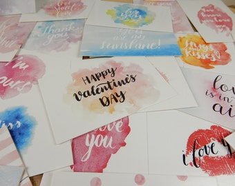 Valentines Mini Cards, Love Quote Cards, Wedding Inspiration, Watercolour Quote Cards, Valentines Day, Love Quotes