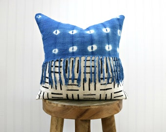 Indigo and White African Mud Cloth Fringe Pillow Cover // Blue White Mudcloth Geometric Vintage Ivory Cream African Textile Ethical Global