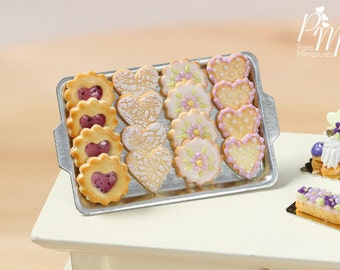 Presentation of Iced Butter Cookies on Baking Tray - Miniature Food for Dollhouse 12th scale 1:12
