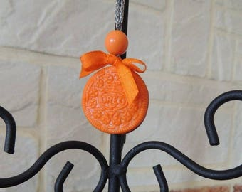 Orange polymer clay OREO necklace