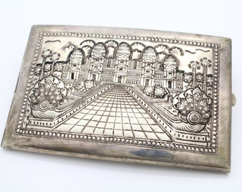 Antique Sterling Silver Repousse Cigarette Case East Asian Naga and Temple. [6479]