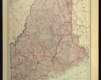 Vintage maine map Etsy