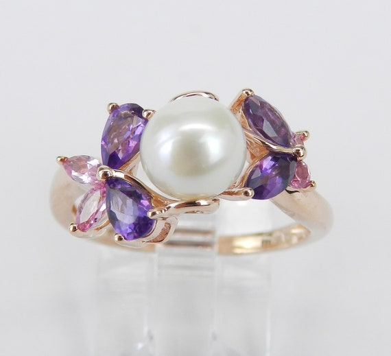 Rose Gold Pearl Amethyst Pink Tourmaline Engagement Butterfly Ring Size 7