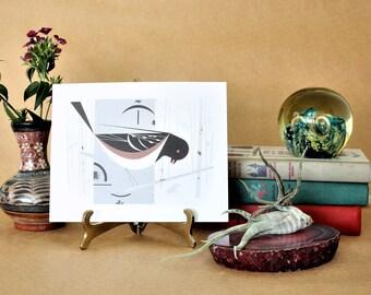 Charley Harper Art,Vintage Spotted Towhee Bird Prints,MCM Art Print,Bird Ephemera Prints,Charles Harper Art,Charlie Harper art print