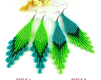 Beaded earrings Green dangle earrings Green beaded jewelry Long green earrings Seed bead earrings Fringe earrings Beadwoven earrings
