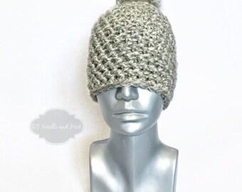 Grey Chunky Beanie with Pom, Silver Grey Crochet Hat, Light Gray Winter Beanie With Puff, Gray Pom Pom Knit Hat, Ski Cap