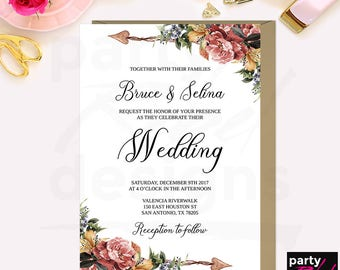 Floral Wedding Invitation Printable Set, Printable Floral Wedding Invitations, Watercolor, Boho Floral Invitations, Bohemian Wedding, WS26