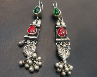 Red Or Green Glass Antique Old Silver Vintage Ethnic Tribal Dangle Earrings