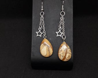 Earrings chain silver plated, Star and Brown natural stone pendant charm
