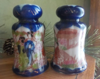 Vintage Chinese Geisha, Satsuma, Salt And Pepper Shakers, Made In Japan