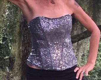 Sequin Corset, Iridescent Top, Strapless Shirt, Silver Top, Strapless Top, Mermaid Top, Holiday Top, Festival Shirt, Corset