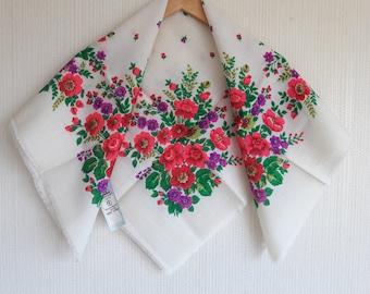 Matryoshka scarf, chale russe, ukrainian folk shawl, chale russe, wedding shawl, russian babushka