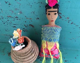 Frida Kahlo Doll - Frida Doll - Frida Kahlo Art Doll - Folk Art Ornament - Frida Kahlo Ornament - Inspired by Mexican Folk Art - Beaded Doll