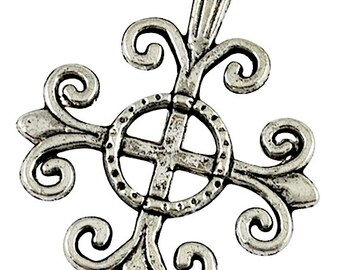 12 Spanish Cross Charms, Antique Silver, 4905AS