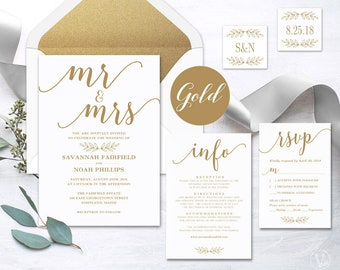 Gold Calligraphy Wedding Invitation, Printable Wedding Invitation Set Template, Modern Calligraphy, Mr and Mrs, VW10GOLD