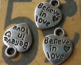 Silver Charms Heart Charms Word Charms Quote Charms Love Charms Believe in Love Silver Heart Charms Message Charms Tag Charms 10 pieces