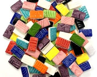 """Ceramic Mosaic Tiles - 3/4"""" Bricks- Multi Colored"""
