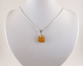 Amber Sea Glass Pendant Necklace 925 Sterling Silver