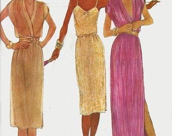 ON SALE 1970s Slip Dress McCalls 6905 Low Cut Dress Regular or Evening Length Vintage 70s American Hustle Plus Size Sewing Pattern Size 22 B